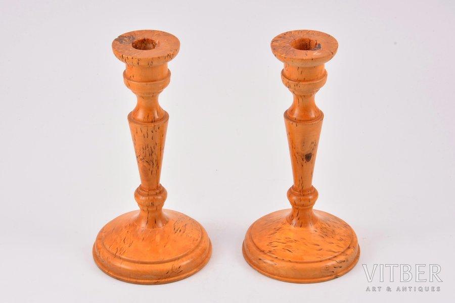 парные подсвечники, карельская береза, h 17.4 см