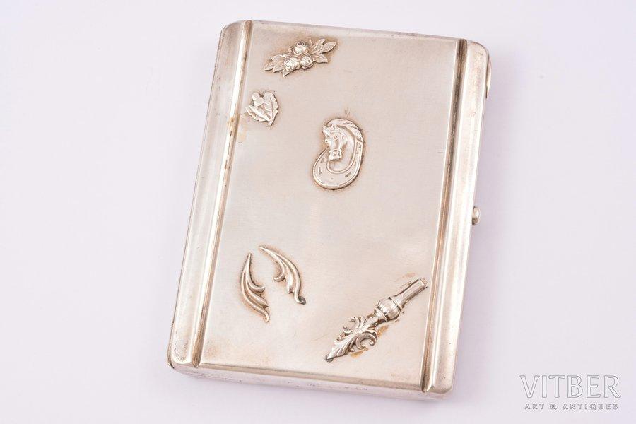 портсигар, серебро, 875 проба, 20-30е годы 20го века, 155.55 г, мастер Янис Ридус, Латвия, 10.9 x 8.3 x 1.5 см