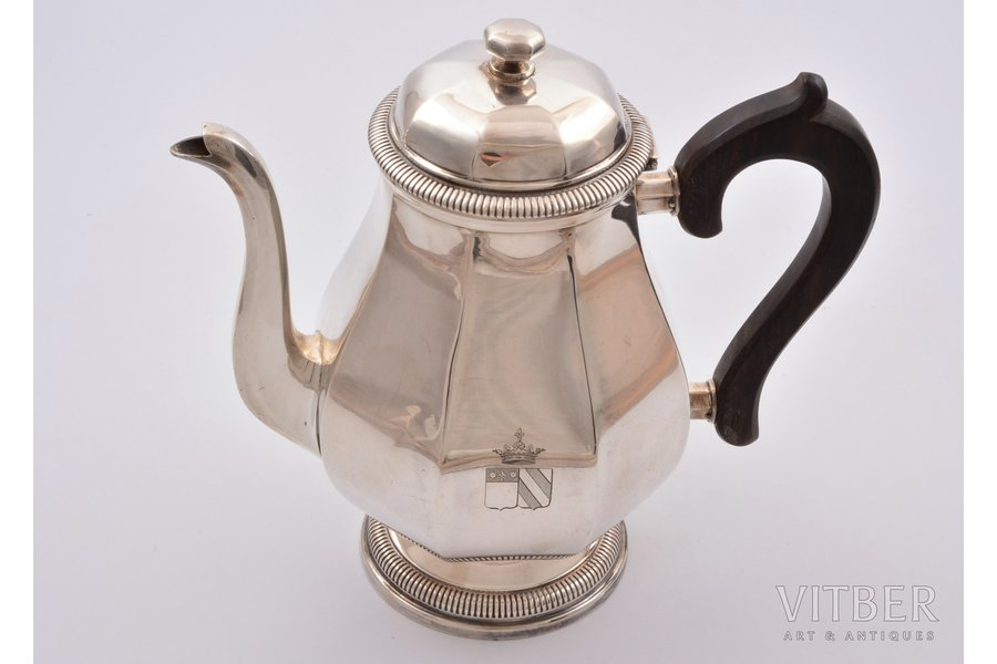 small teapot, silver, 950 standart, total weight of item 663.55g, France, h 21 cm