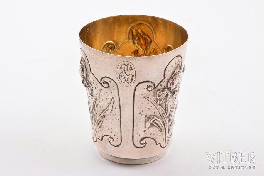 стакан, серебро, 950 проба, модерн, чеканка, 65.65 г, Франция, h 8 cм, Ø 6.7 см