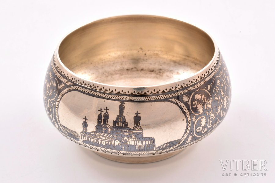 солонка, серебро, 84 проба, чернение, 1896-1907 г., 43.70 г, Москва, Российская империя, Ø 5.9 см