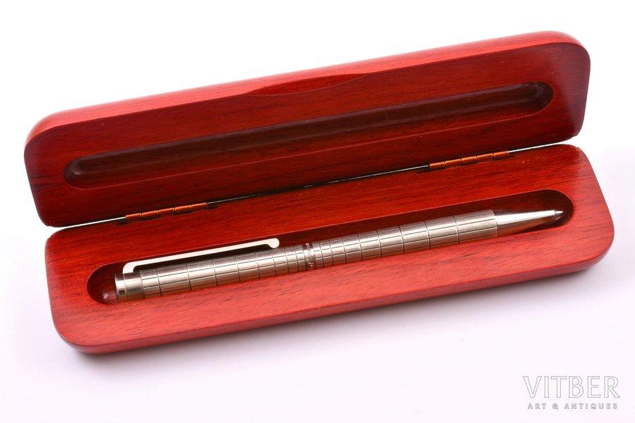 "ballpoint pen ""Waldmann"", silver, 925 standart, 29.74 g, Germany, 13.6 cm, in a wooden box"