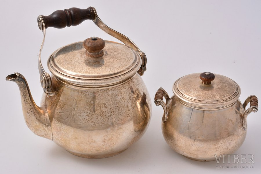a set of sugar-bowl and small teapot, silver, 950 standart, the 30ties of 20th cent., 662.40 g, total weight of a small teapot 456.80 g, total weight of a sugar bowl 205.60 g, Boin Taburet, Paris, France, h of a small teapot (with a handle) 16.5 cm, h of a sugar bowl 8.5 cm