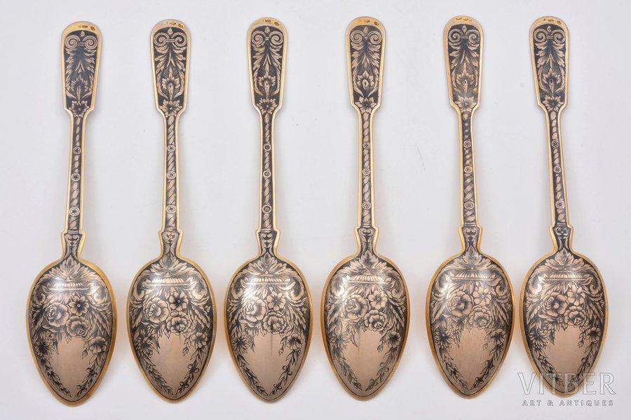 "set of soup spoons, silver, 875 standart, 6 items, niello enamel, gilding, the 30ties of 20th cent., 471.10 g, artel ""Severnaya Chern"", Leningrad, USSR, 20.3 cm"