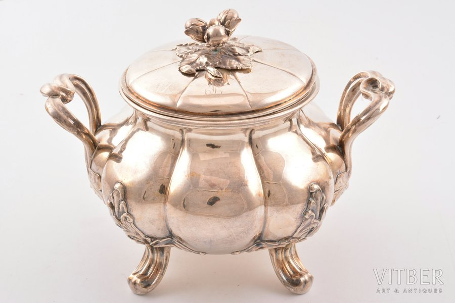 сахарница, серебро, 950 проба, 1911-1916 г., 417.05 г, Alphonse Debain, Париж, Франция, h 14.6 см