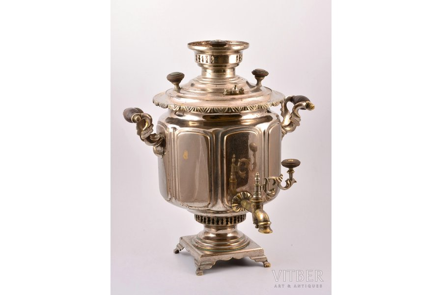 "samovar, Alenchikov and Zimin, shape ""faceted jar"", brass, nickel plating, Russia, 1840-1917, 43 cm, weight 6000 g"