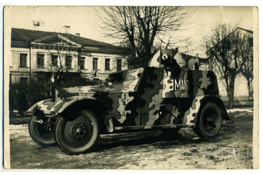 "photography, LA, Auto-tank regiment, armored vehicle ""Imanta"", Latvia, 20-30ties of 20th cent., 14x9 cm"