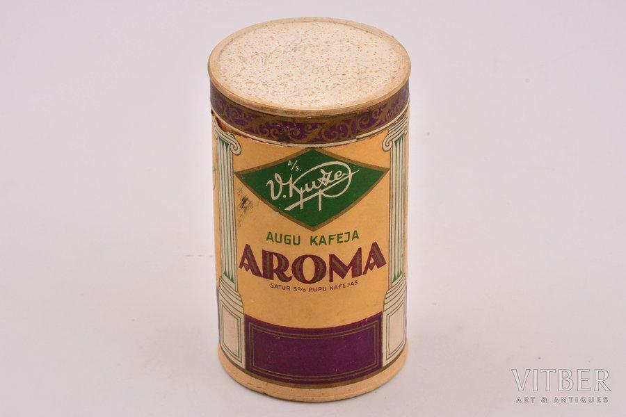 Кофейная коробочка, кофе Арома, В. Кюзе в Риге, картон, Латвия, 20-30е годы 20го века, 11.8 см