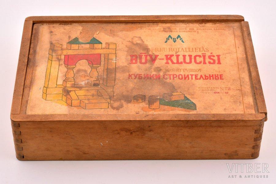 коробочка, строительные кубики, дерево, Латвия, СССР, 40-е годы 20го века, 6 x 26.8 x 18.4 см