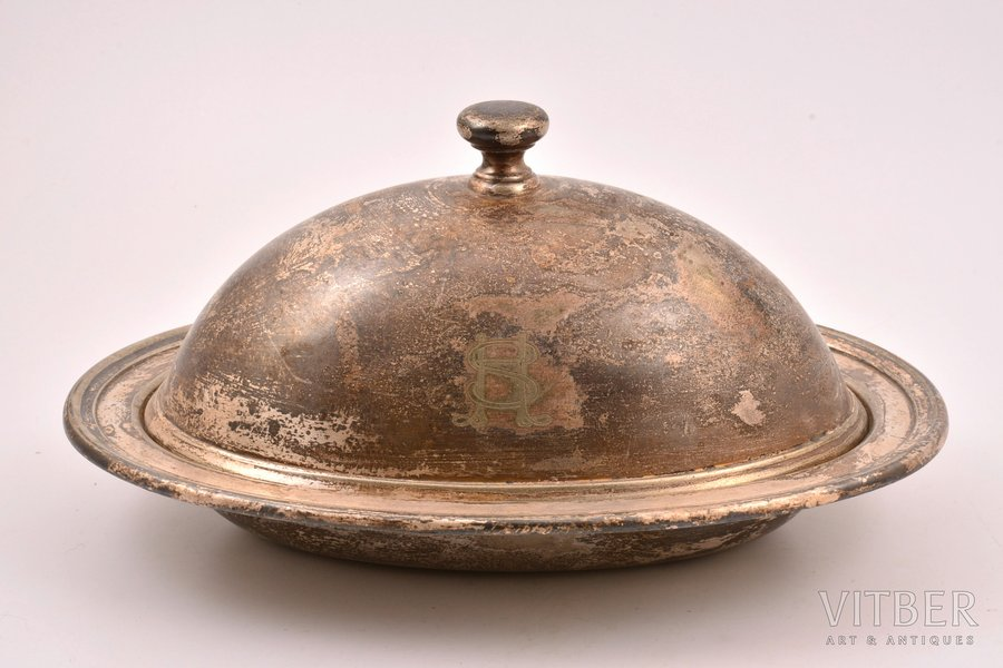 stewing-dish, Art. Krupp Berndorf, silver plated, Germany, the 1st half of the 20th cent., 13 x 26.3 x 18.7 cm