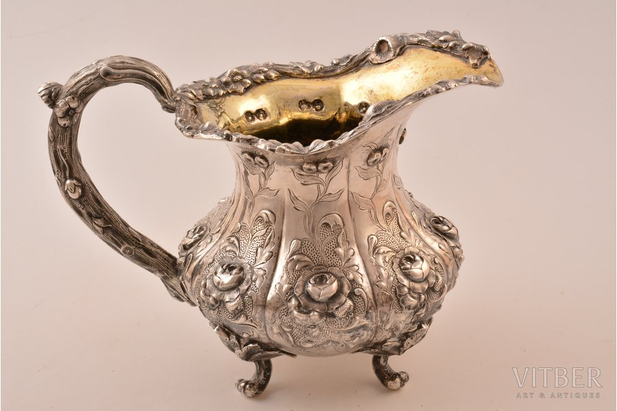 cream jug, silver, 84 standart, gilding, silver stamping, 1847, 450.95 g, by Nordberg Joseph, St. Petersburg, Russia, h 13 cm