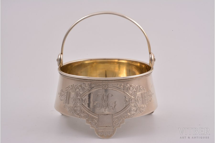 sugar-bowl, silver, 84 standart, engraving, 1888, 158.45 g, Moscow, Russia, Ø 9.8 cm