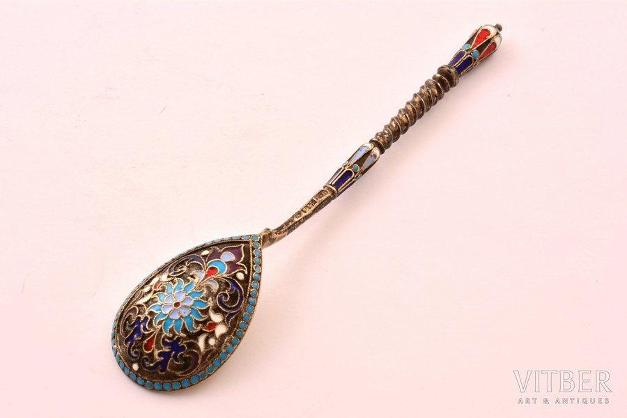 teaspoon, silver, 84 standart, cloisonne enamel, 1880-1899, 16 g, by Gutav Klingert, Moscow, Russia, 11.3 cm