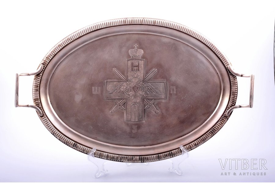 tray, for awarding awards, 3rd Irkutsk school of ensigns, FRAGET, brass, silver plated, Russia, Congress Poland, the beginning of the 20th cent., 49 х 31 cm, weight 1750 g