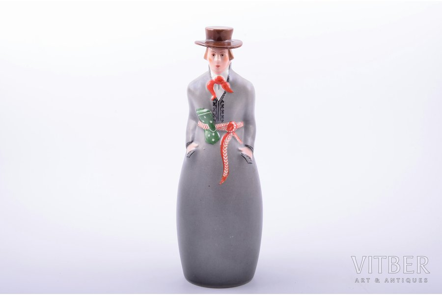 "figurine, liqueur bottle, Man in traditional costume, ""A/S Ch. Jürgenson - Otto Schwarz"", porcelain, Riga (Latvia), J.K.Jessen manufactory, hand-painted, the 30-40ties of 20th cent., 26.7 cm"