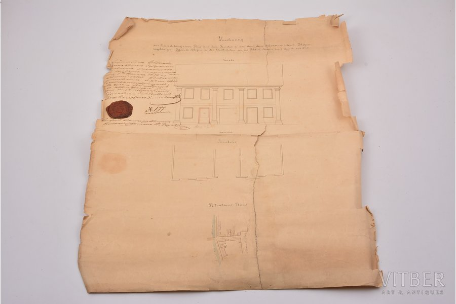 document, architectural plan, Kurland Governorate seal stamp, Russia, 1870, 45 x 36.5 cm