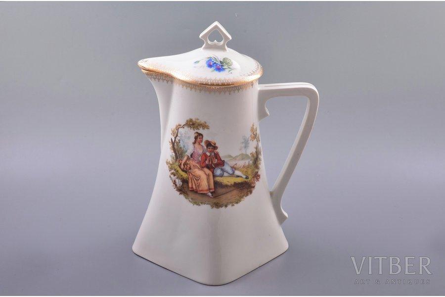 jug-teapot, porcelain, M.S. Kuznetsov manufactory, Riga (Latvia), 1933-1934, h 25.8 cm
