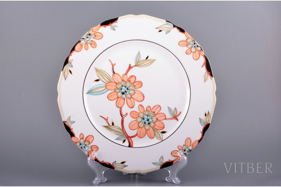 decorative plate, flowers, porcelain, J.K. Jessen manufactory, signed painter's work, handpainted by Olga Kateneva-Neimane, sketch by Olga Kateneva-Neimane, Riga (Latvia), the 40ies of 20th cent., Ø 27 cm, first grade