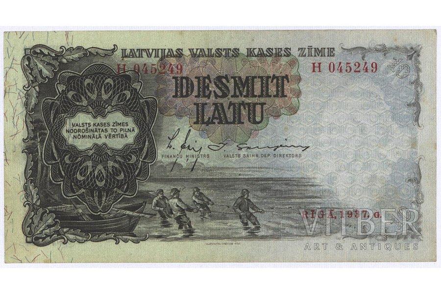 10 lats, banknote, 1937, Latvia, XF, VF