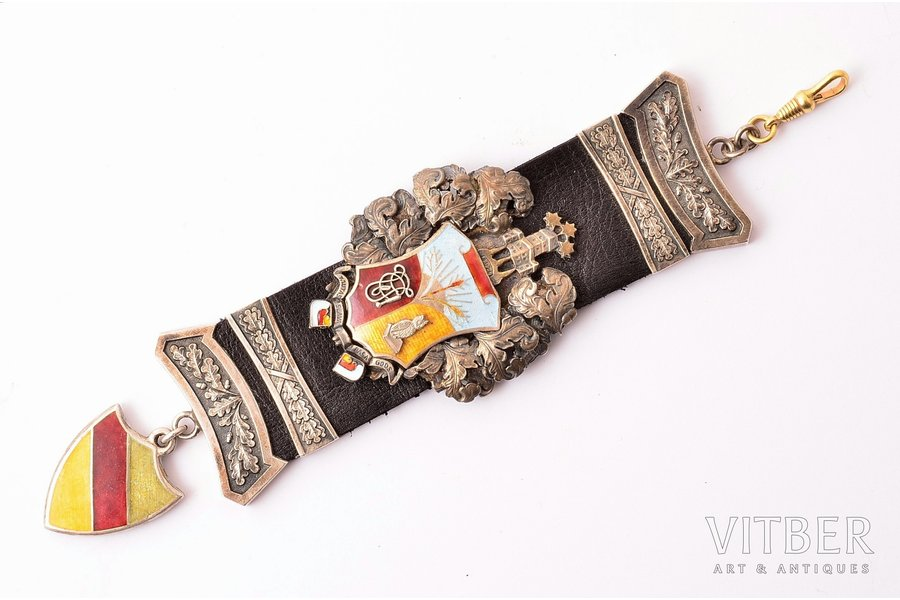 "watch fob, student corporation ""Fraternitas Vesthardiana"", Latvia, 172 x 43 mm"