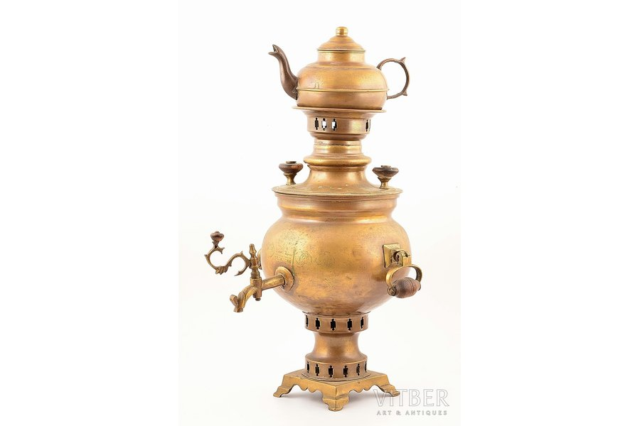 samovar, with teapot (without mark), Samovar factory of Peter Vasiljevich Salishyev in Tula, bronze, Russia, 1907-1915, weight total weight 2000 g, samovar h 36.8 / teapot h 11.4