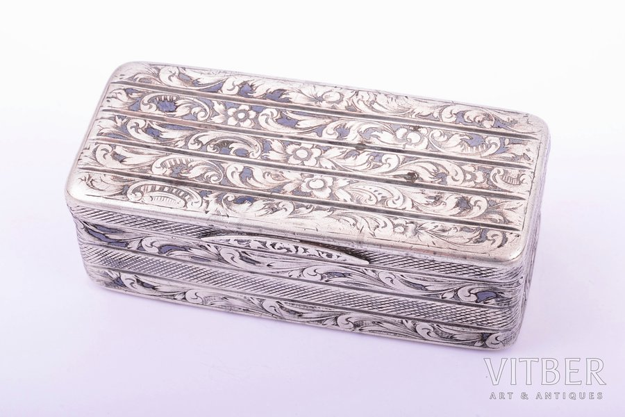 snuff-box, silver, 84 standart, niello enamel, gilding, 1851, 100.85 g, Moscow, Russia, 8.5 x 3.9 x 3 cm