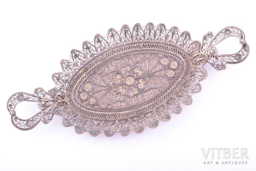 jewelry tray, silver, 830 standart, filigree, 35.10 g, 14 x 6.2 cm, import mark of Finland