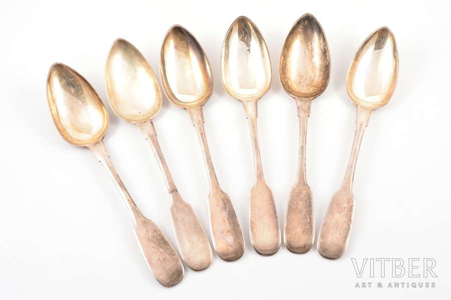 set of tablespoons, silver, 84 standart, 6 pcs, 1843-1896, 477.30 g, Riga, Russia, 22.5 cm