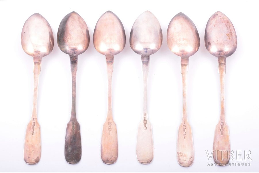 set of soup spoons, silver, 84...