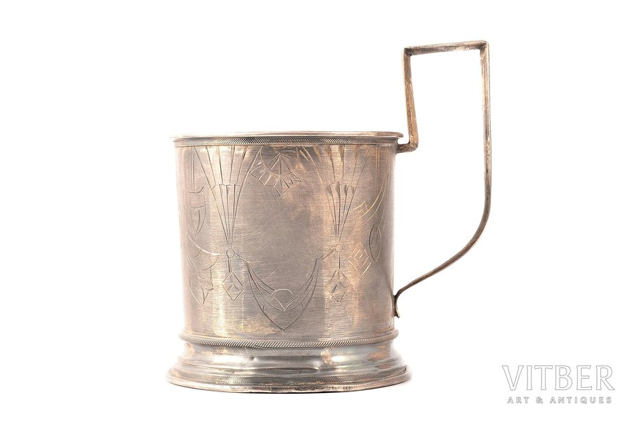 tea glass-holder, silver, 84 standart, engraving, 1908-1917, 83.78 g, Ivan Butuzov's workshop, Moscow, Russia, Ø (inside) 6.1 cm, h (with a handle) 9.2 сm