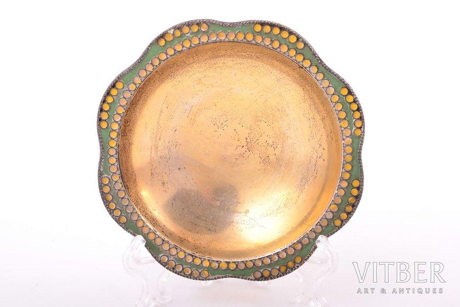 decorative plate, silver, 916 standart, cloisonne enamel, gilding, 1965, 56.30 g, Leningrad Jewelry Factory, Leningrad, USSR, Ø 8.5 cm