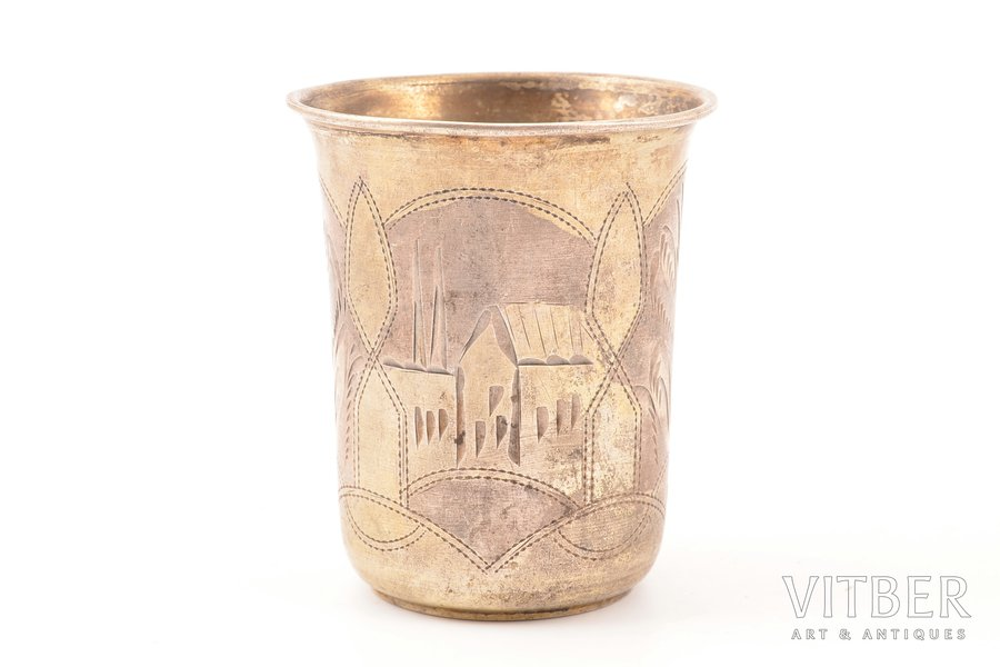 beaker, silver, 84 standart, engraving, 1908-1926, 37.55 g, by Israel Eseevich Zakhoder, Kiev, Russia, 6.4 cm