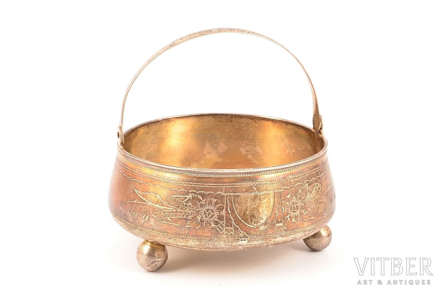 sugar-bowl, silver, 84 standart, engraving, 1893, 137.05 g, by I. H. Lozinsky, Moscow, Russia, Ø 11 cm, h (with a handle) 10.9 cm