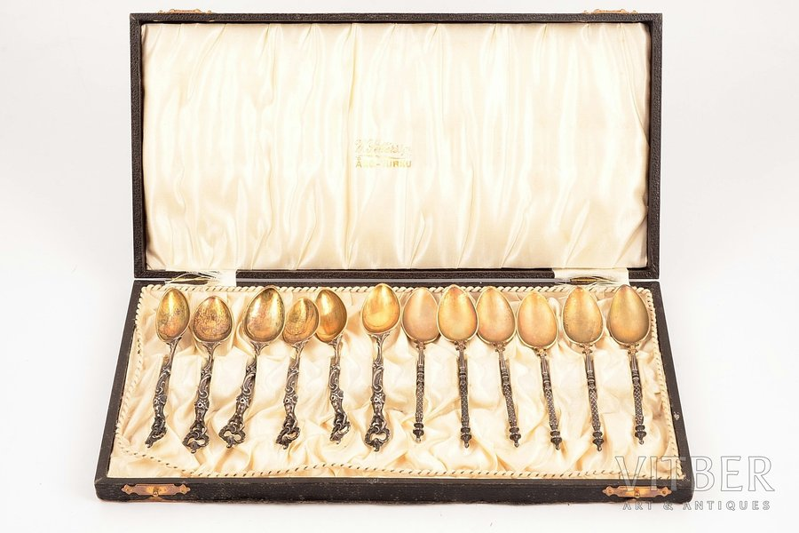 set of teaspoons, silver, 800 standart, 6+6 pcs, total weight of items 123.10g, Bruckmann & Söhne, Heilbronn, Germany, 10.5, 11.1 cm, with box
