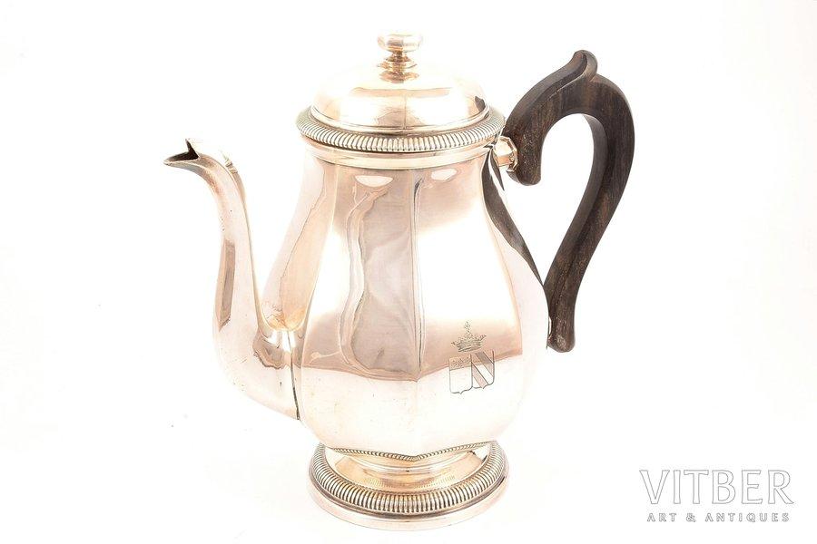 кофейник, серебро, 950 проба, 664.50 (общий вес изделия)г, Франция, h - 20.4 см
