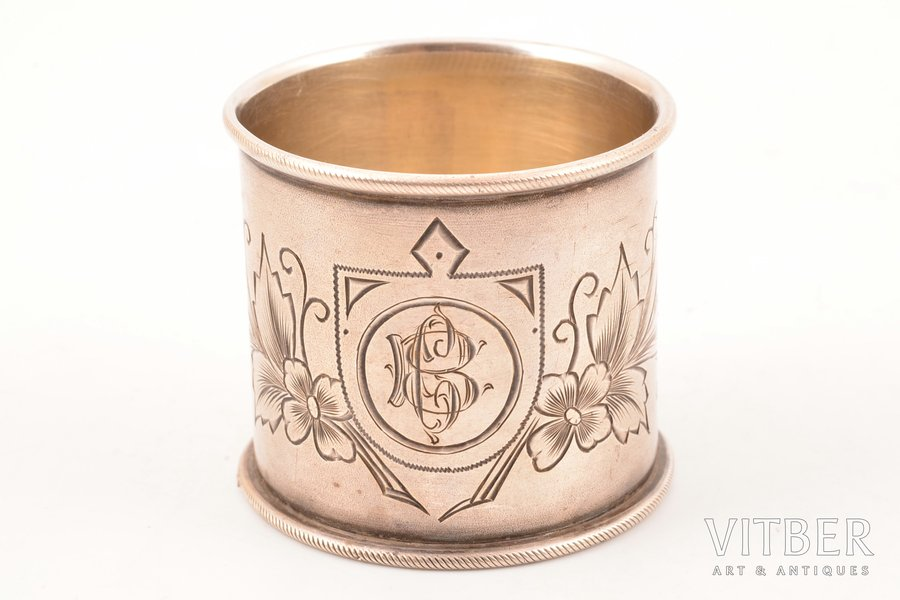 serviette holder, silver, 84 standart, engraving, 1896-1907, 35.10 g, Moscow, Russia, 4.3 cm