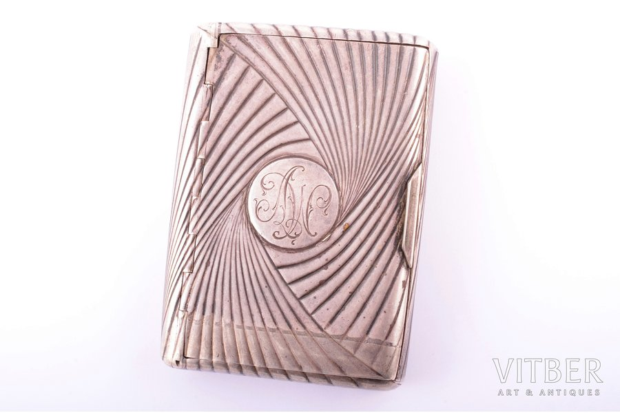 """cigarette case, silver, by Nevalainen Anders Johan, for """"Fabergé"""", later item was re-made by Latvian silversmith, 88 standart, 1896-1907, 152.2 g, St. Petersburg, Russia, 10 x 7.2 x 1.8 cm"""