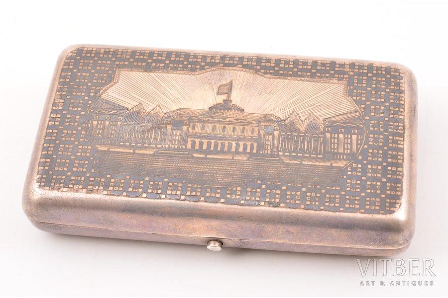 snuff-box, silver, 84 standart, niello enamel, 1870, 123.40 g, Russia, 9.8 x 5.8 x 2 cm