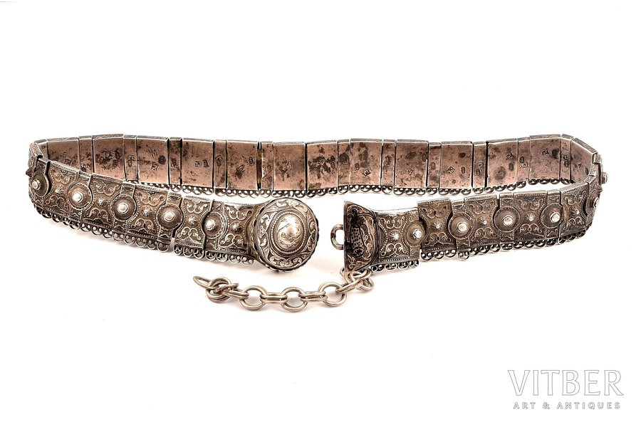 a belt, silver, 84 standart, niello enamel, leather, 1887-1899, 441.05 g, Tbilisi, Russia, 73 (with chain) cm, one link missing