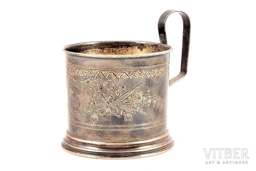 tea glass-holder, silver, 84 standart, engraving, 1895, 87.10 g, Egorov Alexander Sergeev's workshop, Moscow, Russia, h (with handle) - 8.6, Ø (internal) - 6.7 cm