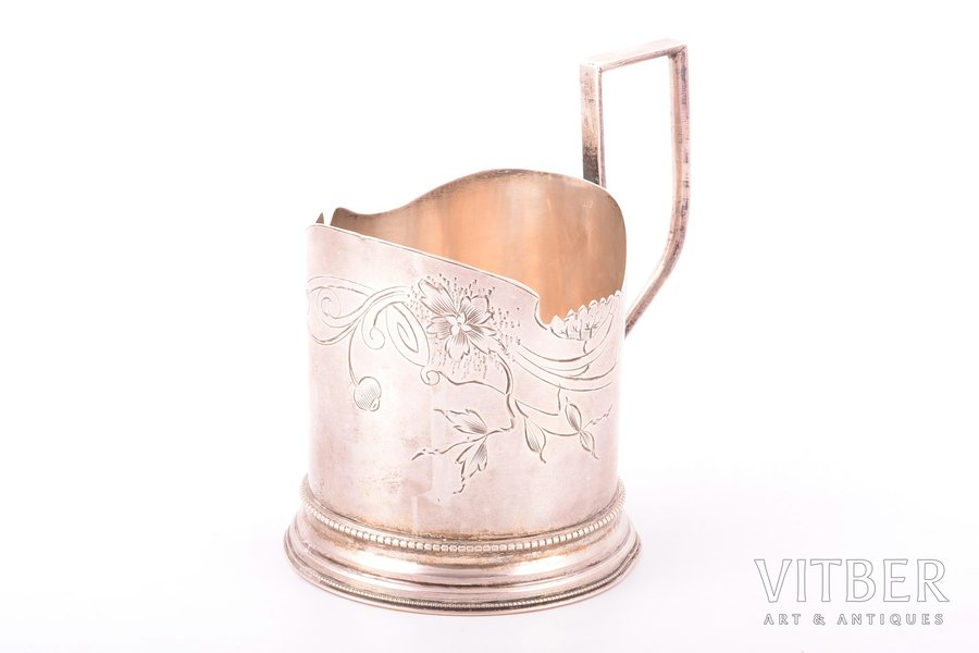 tea glass-holder, silver, 84 standart, Art Nouveau, engraving, 1908-1917, 103.15 g, Moscow, Russia, h (with handle) 10.5 cm, Ø (inside) 6.9 cm