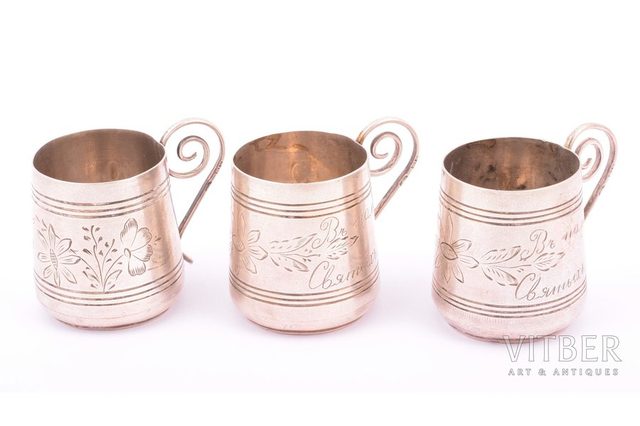 set, three charkas (small glasses), silver, 84 standart, engraving, 1896-1907, 74.35 g, by Ivan Manilov, Kostroma, Russia, h 4.2 cm, Ø 3.6 cm