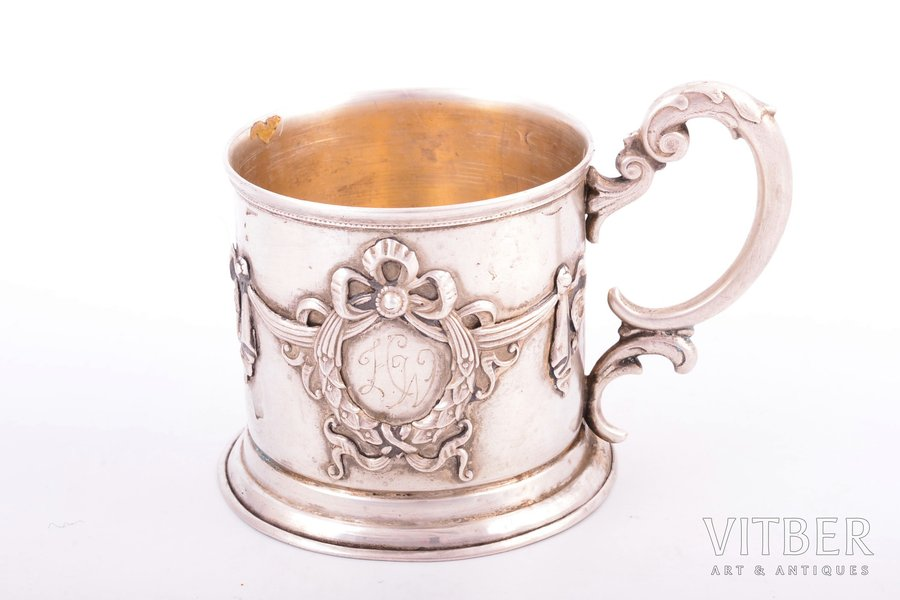 tea glass-holder, silver, 875 standart, the 20-30ties of 20th cent., 91.60 g, by Ludwig Rozentahl, Latvia, Ø (inside) = 6.4 cm, h (with handle) = 7.8 cm