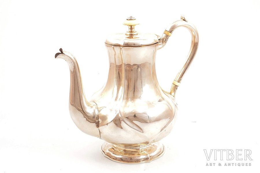 чайник, серебро, 84 проба, золочение, 1876 г., 500.45 г, С.- Петербург, Российская империя, h - 17.4 см