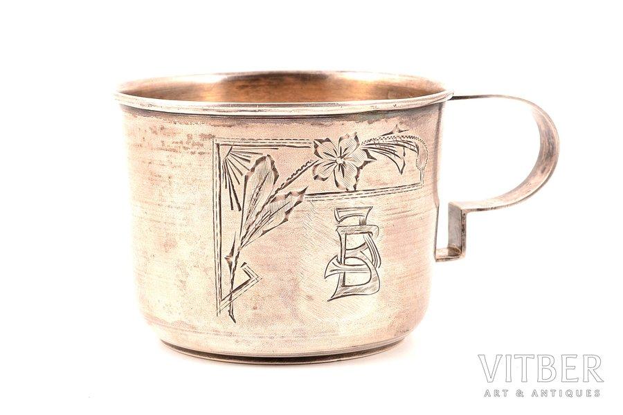 mug, silver, 875 standart, engraving, the 20-30ties of 20th cent., 61.68 g, Latvia, h 5.5 cm, Ø 7.2 cm