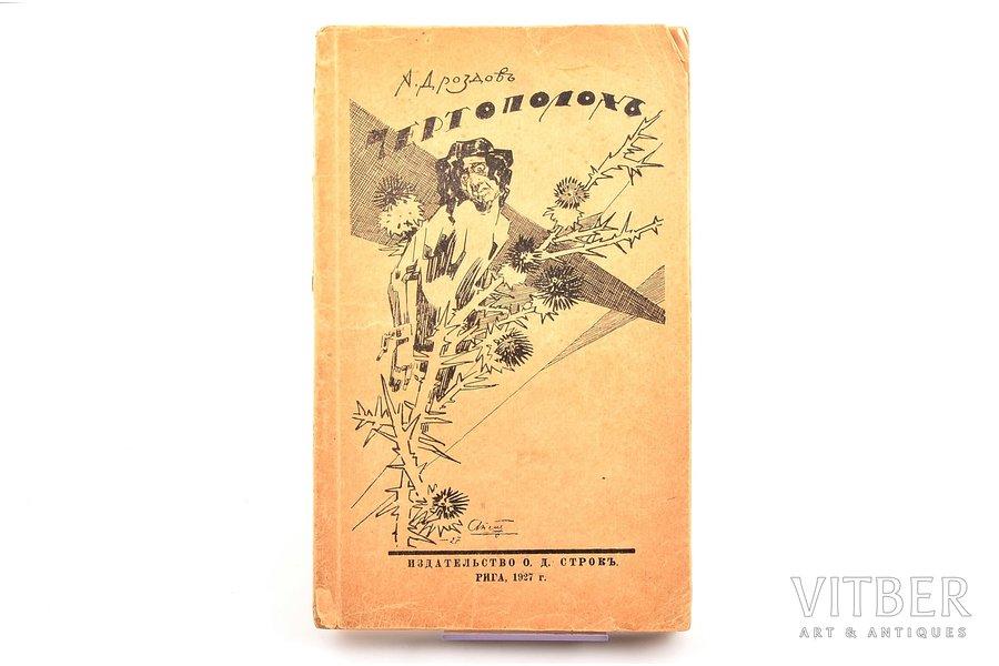 """А. Д. Дроздов, """"Чертополох"""", 1927 г., О.Д. Строк, Рига, 143 стр., поврежден корешок, магазинные печати, 22.3 x 13 cm"""