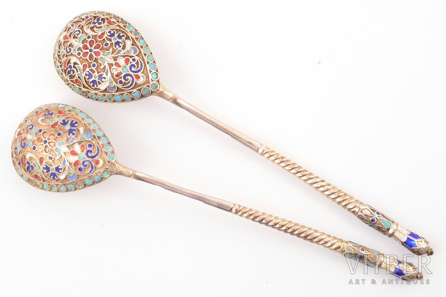set of 2 teaspoons, silver, 84...