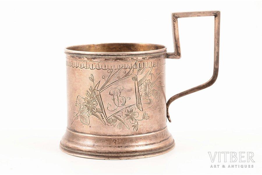 glāzes turētājs, sudrabs, 84 prove, māksliniecisks gravējums, 1880-1890 g., 111.20 g, Maskava, Krievijas impērija, Ø (iekšējais) = 6.8 cm, h (ar rokturi) = 9.4 cm