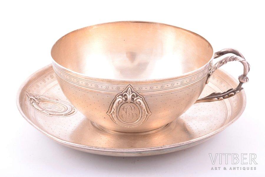 tea pair, silver, 950 standart, 1841-1851, 313.30 g, Philippe Berthier, Paris, France, h (cup) 5.8 cm, Ø (saucer) 16.8 cm
