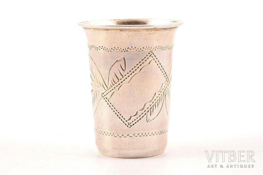 beaker, silver, 84 standart, engraving, 1899-1908, 18.18 g, by I. H. Lozinsky, Moscow, Russia, h - 5.7, Ø - 3.8 cm